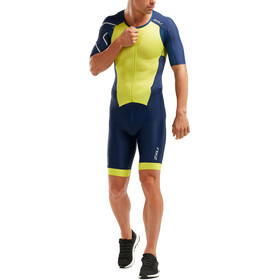 2XU Perform Full Zip Sleeved Trisuit Men Navy/Limeade